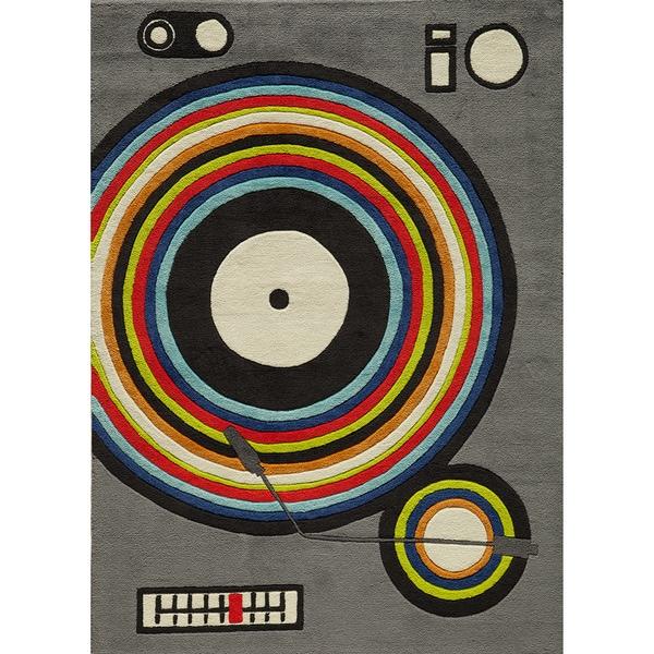 Momeni 'Lil Mo Hipster DJ Grey Rug (3' x 5')