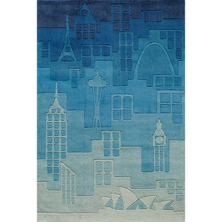Hand-tufted Momeni Lil' Mo Hipster Jetsetter Blue Rug (8'0 x 10'0)