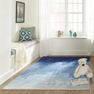 Hand-tufted Momeni Lil&#39; Mo Hipster Jetsetter Blue Rug (8&#39;0 x 10&#39;0)