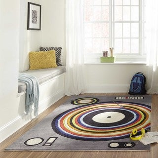 Hand-tufted Momeni Lil' Mo Hipster DJ Grey Rug (5'0 x 7'0)