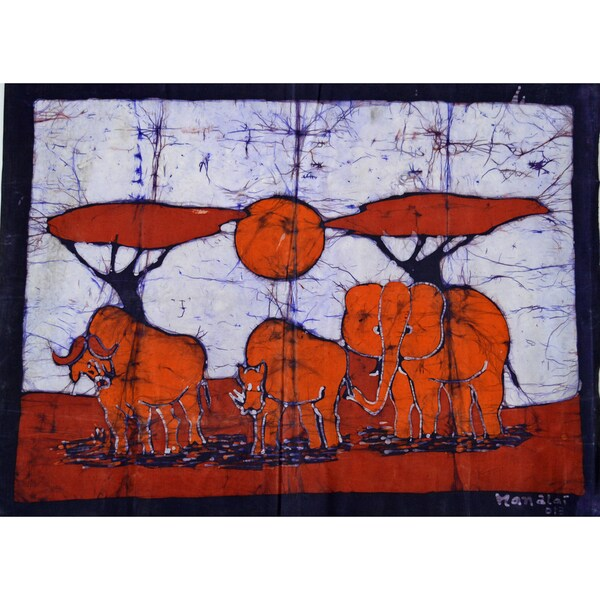 'Feeding at Dawn' Batik Wall Hanging (Mozambique)