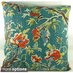 Ethnic Kantha Stitch Tropical Birds Cushion Cover (India)