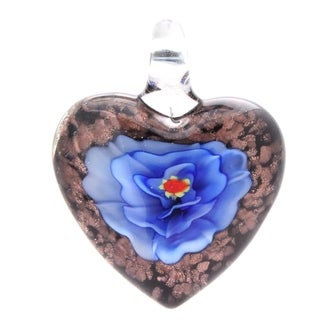 Murano-Inspired Glass Blue Carnation Heart Necklace Pendant