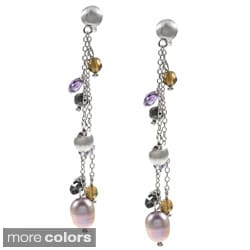 La Preciosa Sterling Silver CZ and Pearl Earrings (6.3-8.5 mm)