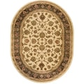 Oriental Sarouk Formal Ivory Area Rug (5'3 x 6'10 Oval)