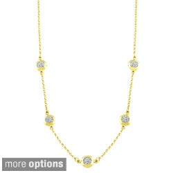 Fremada Sterling Silver Crystal Round 5-station Necklace
