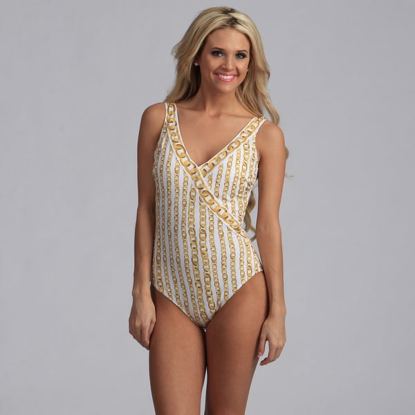 Gottex Women's Gold Chain V-neck One-piece Swimsuit