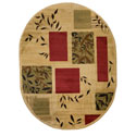 Geometric Boxes Leaves Ivory Red Green Area Rug (5'3 x 6'10)
