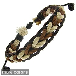 Moise Leather and Woven Cotton Cord Adjustable Bracelet