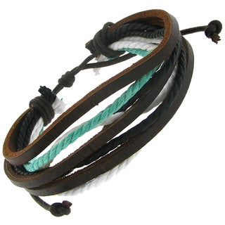 Leather and Cotton Cord Multi-layer Adjustable Bracelet
