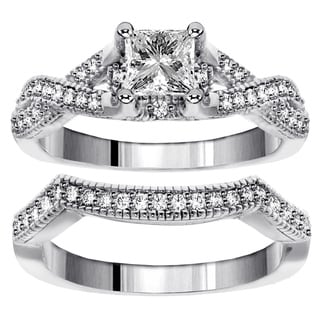 14k White Gold 1 1/5ct TDW Diamond Braided Bridal Ring Set (F-G, SI1-SI2)