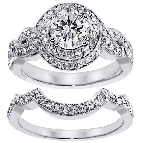 14k White Gold 2ct TDW Clarity Enhanced Diamond Halo Bridal Ring Set (G-H, SI1-SI2)