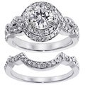 14k White Gold 2ct TDW Clarity Enhanced Diamond Halo Bridal Ring Set (G-H, SI1-SI2)