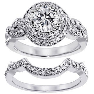 14k White Gold 2 7/8ct TDW Diamond Halo Bridal Ring Set (F-G, SI1-SI2)