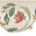 Peach Floral Scroll Border Wallpaper