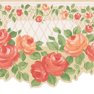 Peach Floral Trellis Border Wallpaper