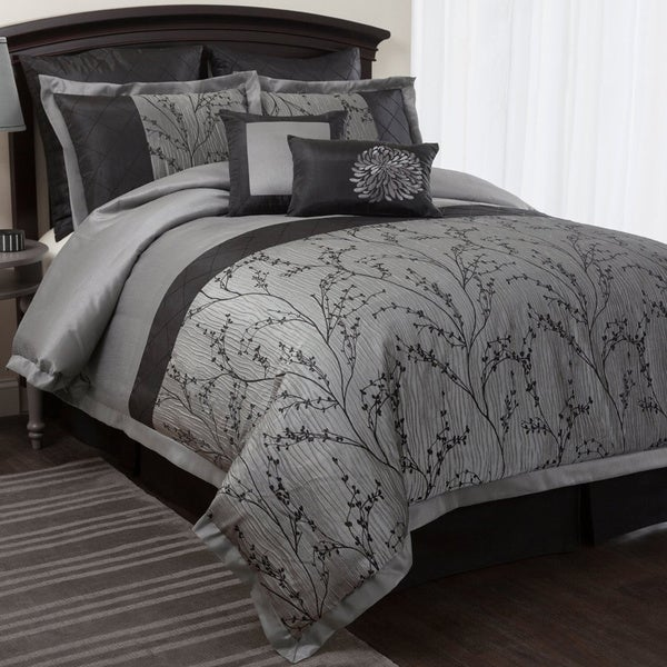Lush Decor Flower Texture 8-piece Silver Comforter Set