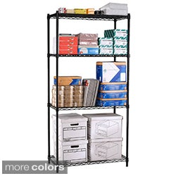 OFM 72-Inch Steel-Wire Adjustable Black or Silver Four-Shelf Unit