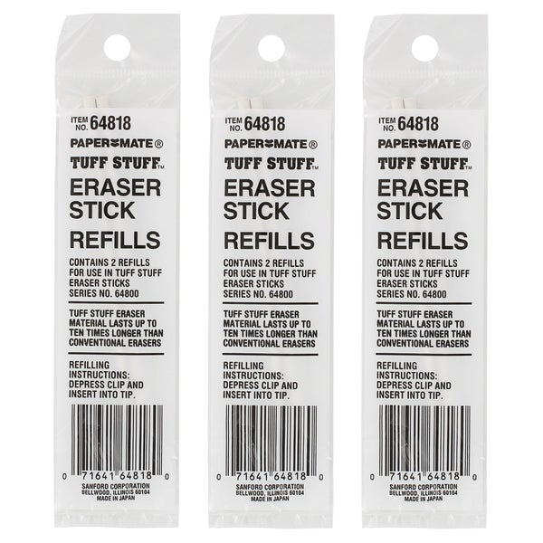Paper Mate Tuff Stuff White Eraser Stick Refills (Pack of 6)