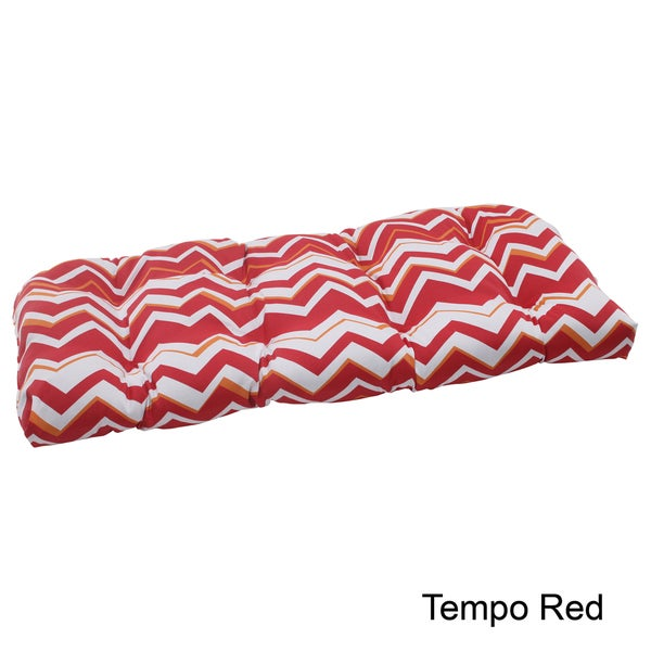 Pillow Perfect Tempo Polyester Tufted Outdoor Wicker Loveseat Cushion