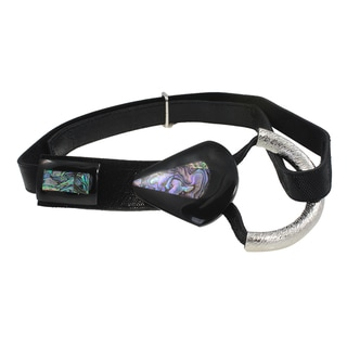 Black Lizard Embossed Leather Abalone Shell Belt