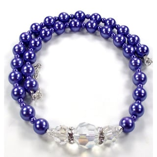 Silverplated Violet Glass Pearl and Clear AB Crystal Jewelry Set