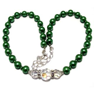 Silverplated Sage Green Glass Pearl and Clear Crystal Jewelry Set