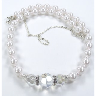 Silverplated White Glass Pearl and Clear AB Crystal Jewelry Set