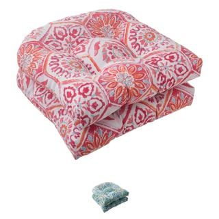 Pillow Perfect Summer Breeze Polyester Tufted Wicker Outdoor Seat Cushions (Set of 2)