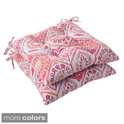 Pillow Perfect 'Summer Breeze' Outdoor Tufted Seat Cushions (Set of 2)