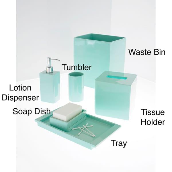 Solid lacquer light blue bath accessory collection for Light blue bathroom accessories