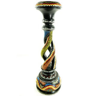 Hand-Painted Black/Multicolored Dot-Art Candle Stick Holder