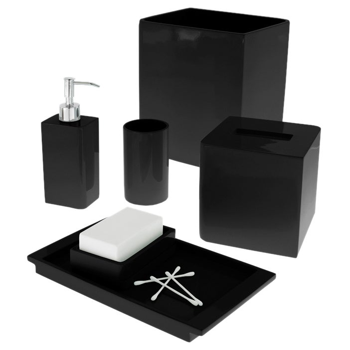 Solid lacquer black bath accessory collection overstock for Black bath accessories sets