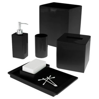 Solid Lacquer Black Bath Accessory Collection
