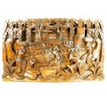 The Village Life Carved Wooden Relief Wall Plaque