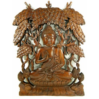 Buddha Sitting on Lotus Flower Hand Carved Relief