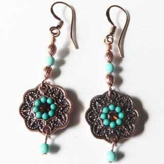 'Cordelia' Turquoise and Copper Dangle Earrings