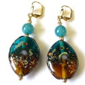 'Heidi' Lampworked Glass Dangle Earrings