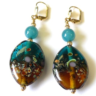Palmtree Gems 'Heidi' Lampworked Glass Dangle Earrings