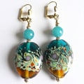 Palmtree Gems &#39;Heidi&#39; Lampworked Glass Dangle Earrings