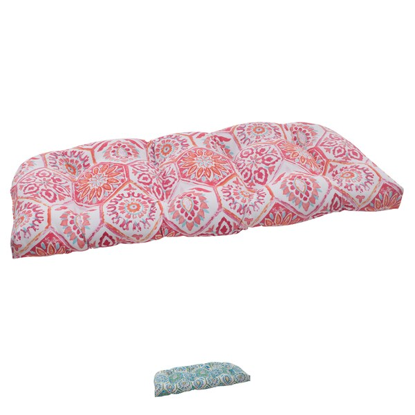 Pillow Perfect Summer Breeze Polyester Tufted Wicker Outdoor Loveseat Cushion