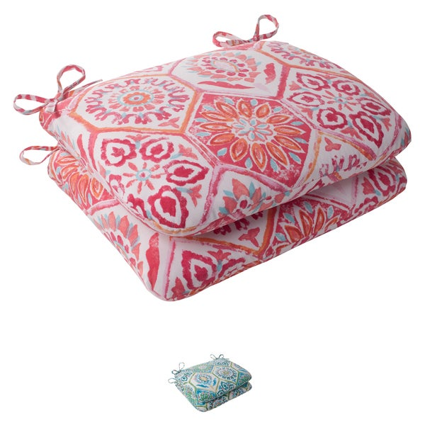Pillow Perfect 'Summer Breeze' Outdoor Rounded Seat Cushions (Set of 2)