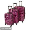 American Travel 3-piece Zebra Expandable Lightweight Hardside Spinner Luggage Set