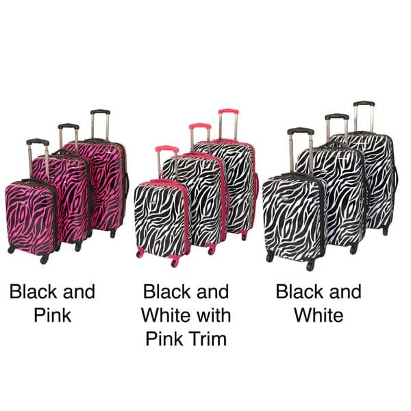 American Travel 3-piece Zebra Expandable Lightweight Hardside Spinner Luggage Set with TSA Lock