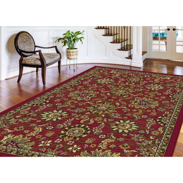 Alise Lagoon Transitional Red Area Rug (7'6 x 9'10')