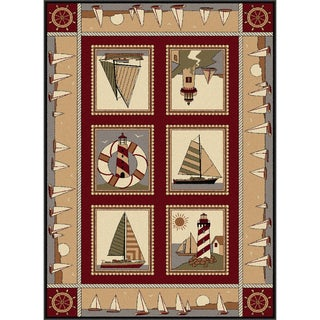 Natural 106580 Lodge Red Area Rug (7'10 x 10'3)