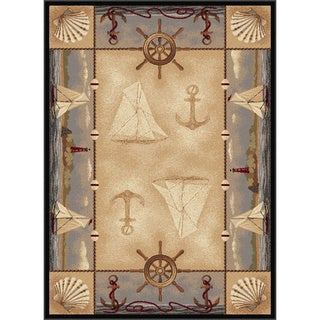 Natural 106582 Lodge Beige Area Rug (5'3 x 7'3)