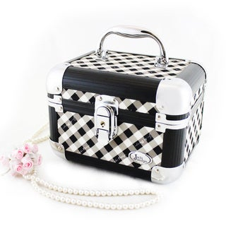 Retro Plaid Train Case Manicure/ Jewelry/ Accessory Organizer