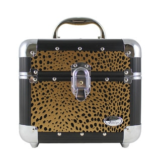 Jacki Design Gold Cheetah Print Train Case
