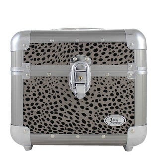 Jacki Design Silver Cheetah Print Train Case